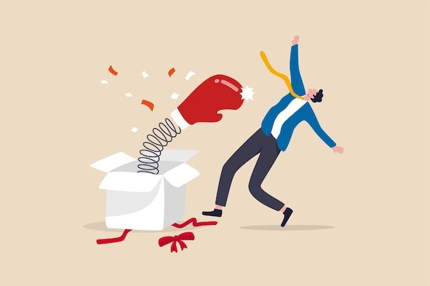 Überraschung im leben, entlassung aus dem job, geldverlust oder unerwartetes ereignis.