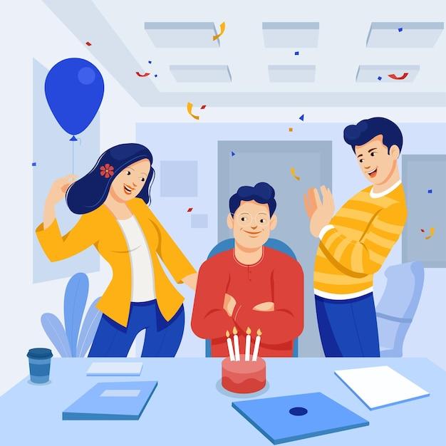 Überraschungs-geburtstagsfeier im büro