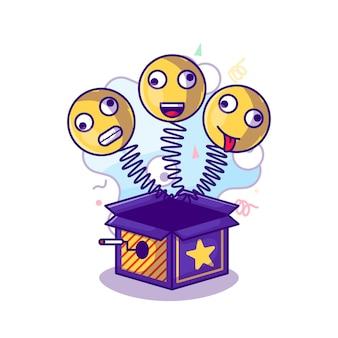 Überraschungsbox mit gesicht zu narren-tagesillustration im flachen cartoon-stil