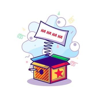Überraschungsbox-nachricht zur narren-tagesillustration im flachen cartoon-stil
