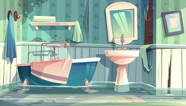 Überschwemmtes badezimmer in den alten wohnungen oder in der hauskarikaturillustration mit weinlesebadewanne