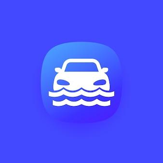 Überschwemmungssymbol mit einem auto, vektor