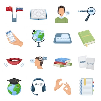 Übersetzen der gesetzten ikone der dolmetscher-karikatur. lokalisierte gesetzte ikonensprache der karikatur. illustrationssprache übersetzen.