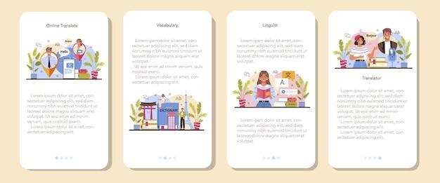 Übersetzer für mobile anwendung banner-set linguist, der dokument übersetzt