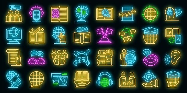 Übersetzer-icons gesetzt. umrisse von übersetzervektorsymbolen neonfarbe auf schwarz