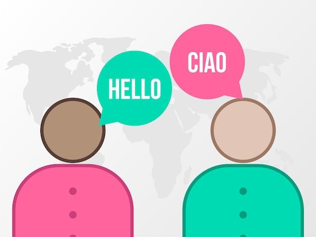 Übersetzungsillustration für den internationalen tag der übersetzung