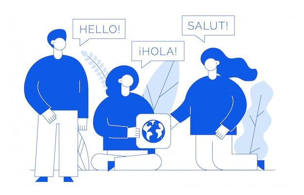 Übersetzungskonzept mit menschen