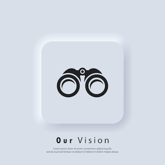 Übersichtssymbol. unser visions- und missionslogo. fernglas-symbol. zoom-symbole. geschäftszielkonzept. vektor. ui-symbol. neumorphic ui ux weiße benutzeroberfläche web-schaltfläche. neumorphismus