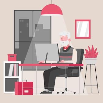 Überstunden des alten mannes, die im büro arbeiten