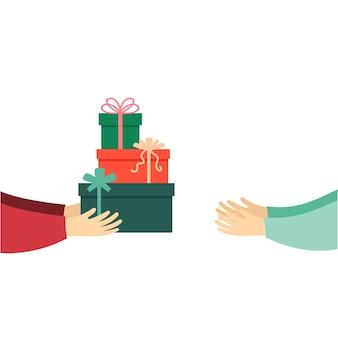 Übertragen sie geschenke von hand zu hand
