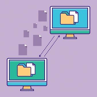 Übertragung der dokumentation ordner mit papierakten programm zur fernverbindung b
