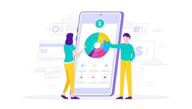 Überwachung der geld-e-wallet auf der mobilen app. diagramme analysieren. flache illustration