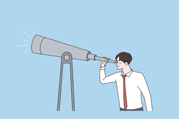 Überwachung des geschäftskonzepts durch fernglaskonzept