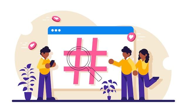 Überwachung sozialer netzwerke, messung sozialer medien, konzept des sozialen zuhörens. hashtag auf der registerkarte des browsers signieren. menschen nutzen das soziale netzwerk.