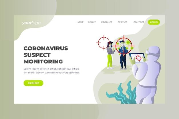 Überwachung von coronavirus-verdächtigen - vektor-landing page