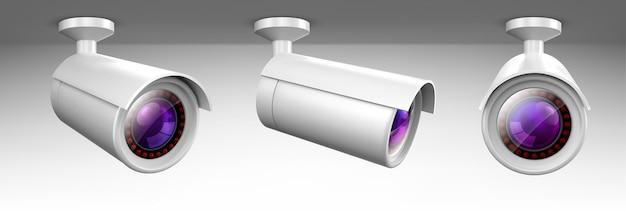 Überwachungskamera, cctv-videokamera, straßenbeobachtungsausrüstung vorder- und seitenwinkelansicht.