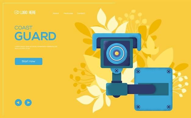 Überwachungskamera-konzept-flyer, web-banner, ui-header, site eingeben. körnung textur und rauscheffekt.
