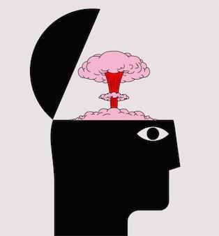 Überwältigendes konzept mit menschlicher kopfsilhouette mit geöffnetem gehirngehäuse und nuklearer explosion