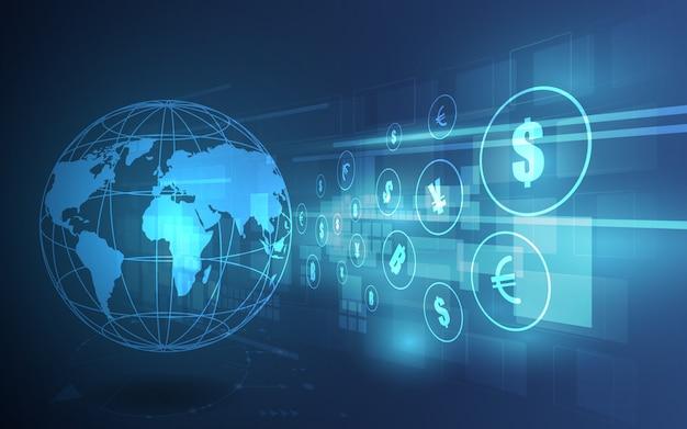Überweisung. globale währung. börse.