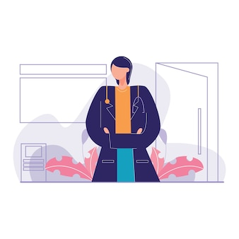 Überzeugte doktor office-vektorillustration