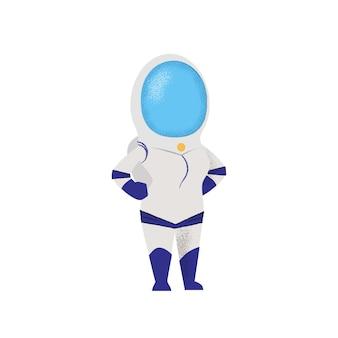 Überzeugter weiblicher kosmonaut, der mit den händen auf hüften steht.