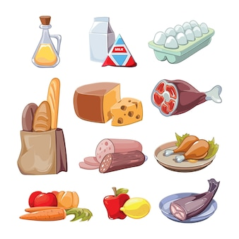 Übliche alltägliche lebensmittel. cartoon clipart set bereitstellung, käse und fisch, würstchen und milch