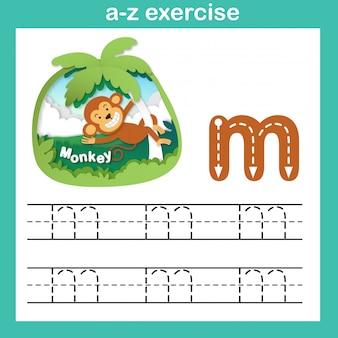 Übung des alphabet-buchstaben m-affen, papier schnitt konzeptvektorillustration