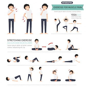 Übung für muskelschmerzen infografik