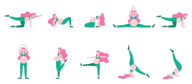 Übung für schwangere frau eingestellt. sport während der schwangerschaft. idee eines aktiven und gesunden lebensstils. wandseite. illustration