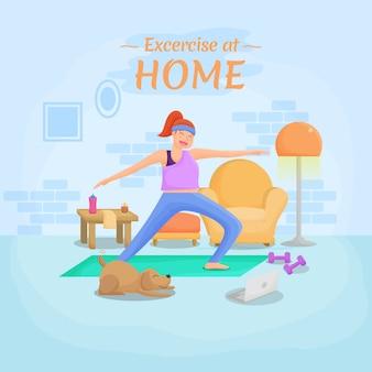 Übung zu hause neue normale flache illustration
