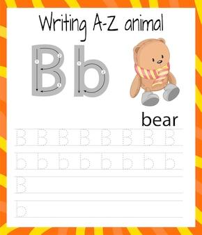 Übungsblatt handschrift. grundlegendes schreiben. lernspiel für kinder. lernen sie die buchstaben des englischen alphabets für kinder. brief b schreiben