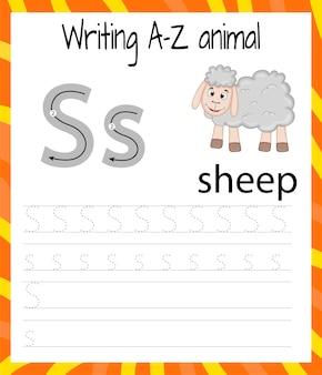 Übungsblatt handschrift. grundlegendes schreiben. lernspiel für kinder. lernen sie die buchstaben des englischen alphabets für kinder. briefe schreiben