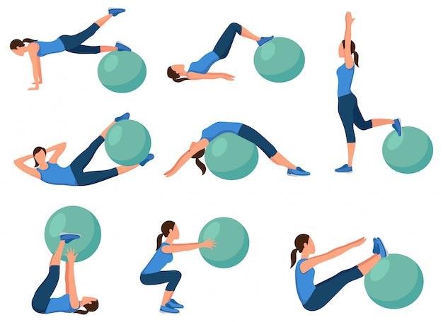 Übungsset für fitball. sammlung von fitness-posen für mädchen für körperelastizität.