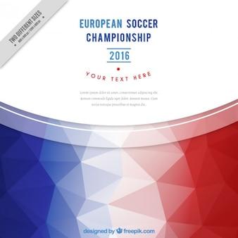 Uefa hintergrund mit polygonalen frankreich flagge