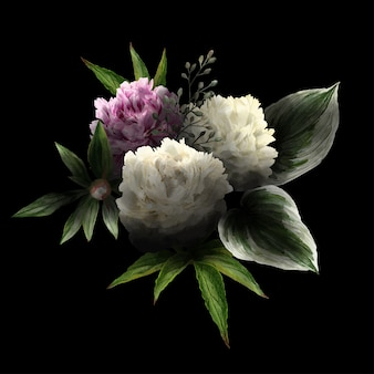 Üppiger blumenstrauß in zurückhaltendem, schwarzem hintergrund, rosa und weißen pfingstrosen und blättern, handgezeichnete wtercolor illustration.