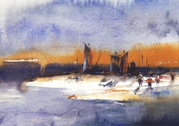 Ufer eines flusses und boot mit geschäftigen arbeitern von aquarell