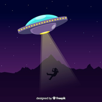 Ufo abduktionskonzept mit flachem design