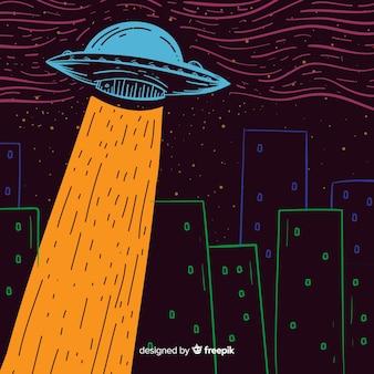 Ufo-Abduktionskonzept mit Hand gezeichneter Art