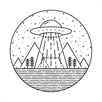 Ufo alien invasion camp wanderung natur wild line grafik illustration kunst t-shirt design