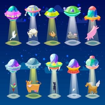 Ufo alien raumschiff oder raumschiff und raumschiff mit tiercharakter katze oder schwein illustration satz von beabstandeten strahl des mysterientransports im universum raum auf hintergrund