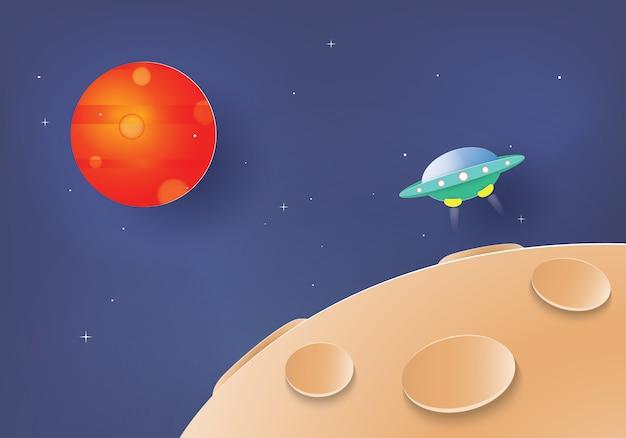 Ufo, das vom mond zum mars reist, papierschnitt