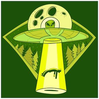 Ufo entführt menschen. raumschiff ufo lichtstrahl am nachthimmel