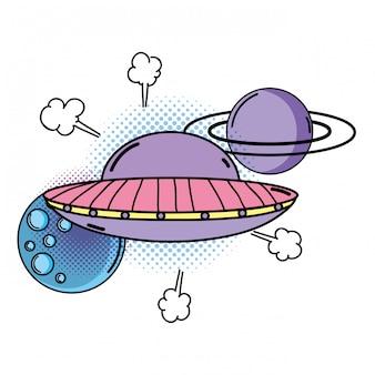 Ufo fliegt mit planeten pop-art-stil