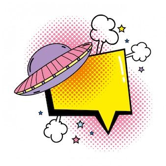 UFO fliegt mit Sprechblase Pop-Art-Stil