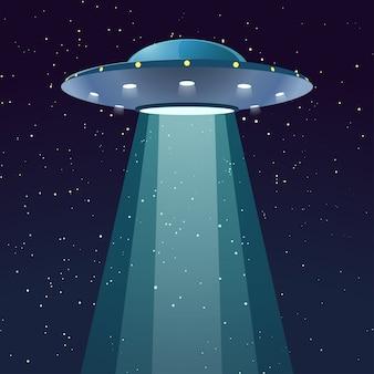 Ufo mit licht in der nacht
