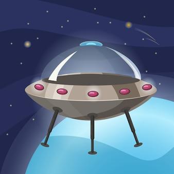 Ufo-raumschiff, cartoon-stil, hintergrundraumplanet, isoliert, illustration