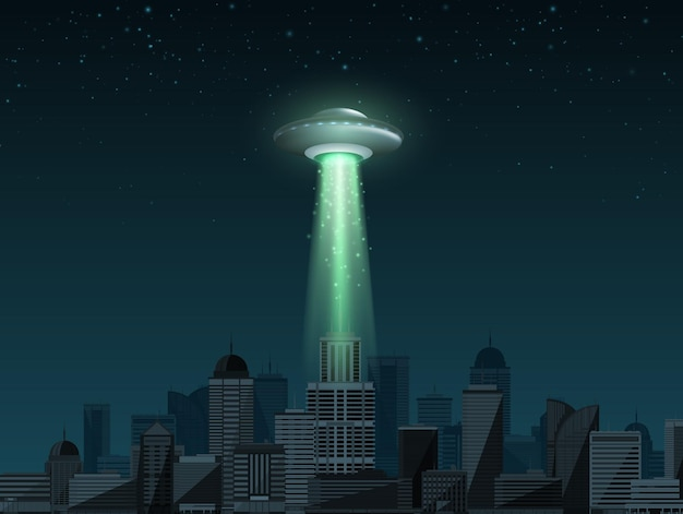 Ufo-raumschiff mit einem lichtstrahl, der über die ufo-tagesvektorillustration der stadt fliegt