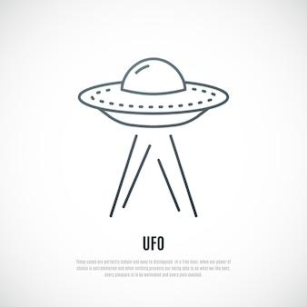 Ufo-symbol im linienstil isoliert auf weiß