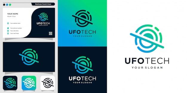 Ufo tech-logo mit strichzeichnungen und visitenkarten-design-vorlage, einzigartig, modern, neu, technologie, alien,