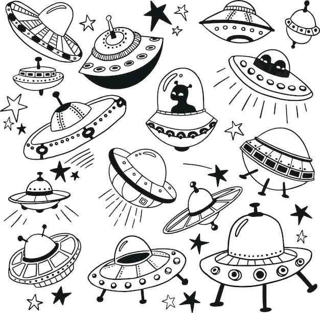 Ufo und aliens doodle-sammlung